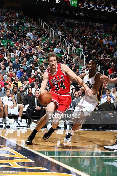 Mike Dunleavy of the Chicago Bulls handles the ball against the Utah Jazz during the game at EnergySolutions Arena on November 24 2014 in Salt Lake...