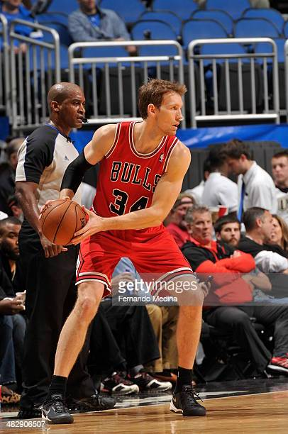 Mike Dunleavy of the Chicago Bulls looks to pass the ball against the Orlando Magic during the game on January 15 2014 at Amway Center in Orlando...