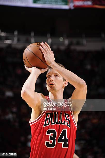 Mike Dunleavy of the Chicago Bulls prepares to shoot a free throw against the Houston Rockets on March 31 2016 at the Toyota Center in Houston Texas...
