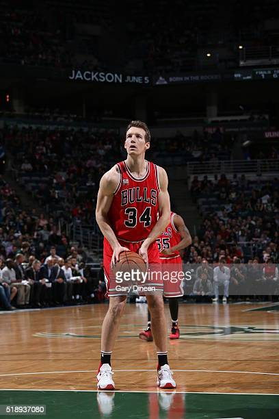Mike Dunleavy of the Chicago Bulls prepares to shoot a free throw against the Milwaukee Bucks on April 3 2016 at the BMO Harris Bradley Center in...