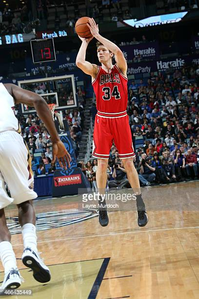Mike Dunleavy of the Chicago Bulls shoots against the New Orleans Pelicans on February 1 2014 at the New Orleans Arena in New Orleans Louisiana NOTE...