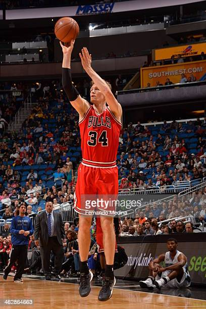 Mike Dunleavy of the Chicago Bulls shoots the ball against the Orlando Magic during the game on January 15 2014 at Amway Center in Orlando Florida...