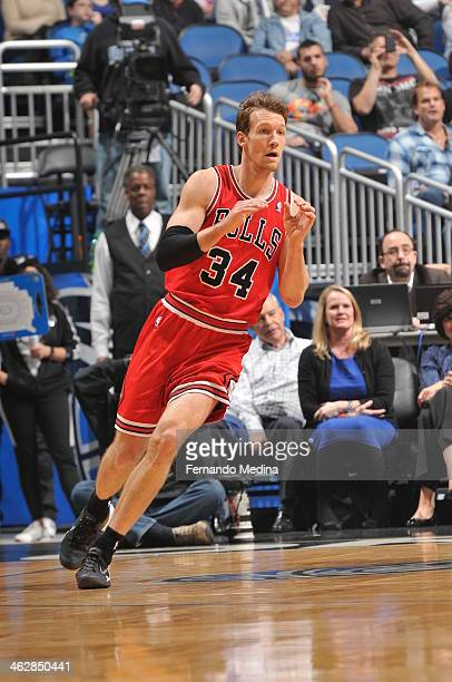 Mike Dunleavy of the Chicago Bulls waits to catch the pass against the Orlando Magic during the game on January 15 2014 at Amway Center in Orlando...