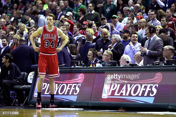 Mike Dunleavy of the Chicago Bulls walks onto the court before the start of the game against the Milwaukee Bucks during the first round of the 2015...