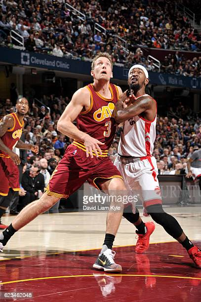 Mike Dunleavy of the Cleveland Cavaliers fights for position against Terrence Ross of the Toronto Raptors during a game on November 15 2016 at...