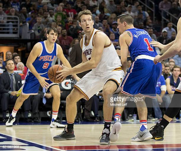 Mike Dunleavy of the Cleveland Cavaliers looks the pass the ball against TJ McConnell of the Philadelphia 76ers at Wells Fargo Center on November 5...