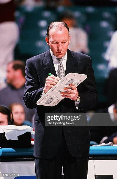 Mike Dunleavy Sr of the Portland Trail Blazers during the game against the Charlotte Hornets on February 26 1999 at Charlotte Coliseum in Charlotte...