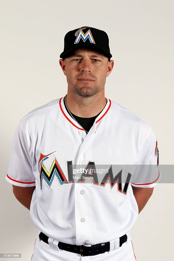Mike Dunn of the Miami Marlins poses for photos on media day at Roger Dean Stadium on February 24, 2016 in Jupiter, Florida.