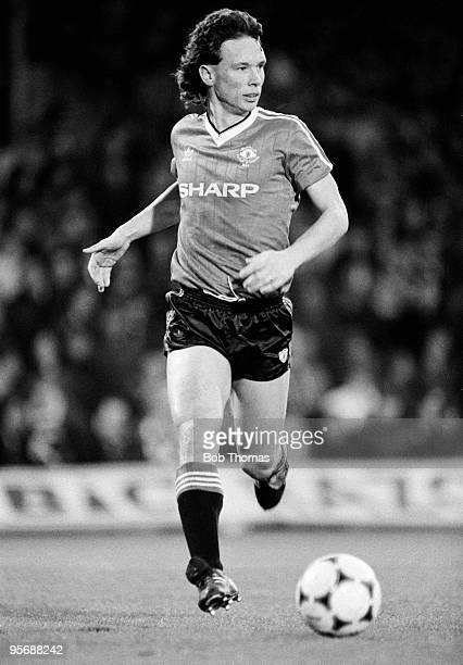 Mike Duxbury of Manchester United in action against Ipswich Town during their Division One football match held at Portman Road, Ipswich on 10th...