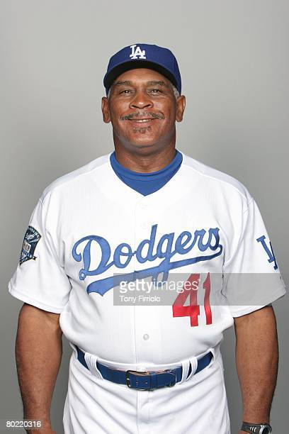 Mike Easler of the Los Angeles Dodgers poses for a portrait during photo day at Holman Stadium on February 24, 2008 in Vero Beach, Florida.