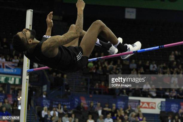 Mike Edwards of Birchfield Harriers competes and wins the high jump in Birmingham England during the British Indoor Championships in Birmingham