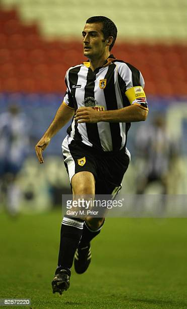Mike Edwards of Notts County in action during the Carling Cup, Round 2 match between Wigan Athletic and Notts County at the JJB Stadium on August 26,...