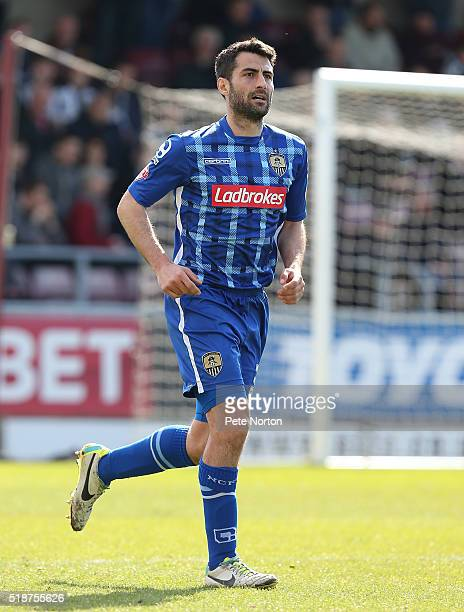 Mike Edwards of Notts County in action during the Sky Bet League Two match between Northampton Town and Notts County at Sixfields Stadium on April 2,...