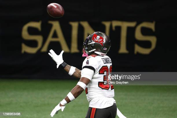 Mike Edwards of the Tampa Bay Buccaneers celebrates after intercepting a pass thrown by Drew Brees of the New Orleans Saints during the fourth...