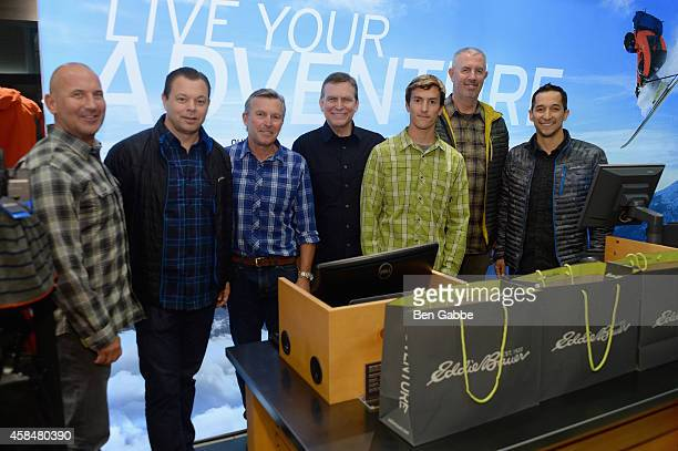 Mike Egeck Geoff Staff Ed Viesturs Mason Earle Dan Templin Bill Bredy and Damien Huang attend the Eddie Bauer NYC Store Opening on November 5 2014 in...