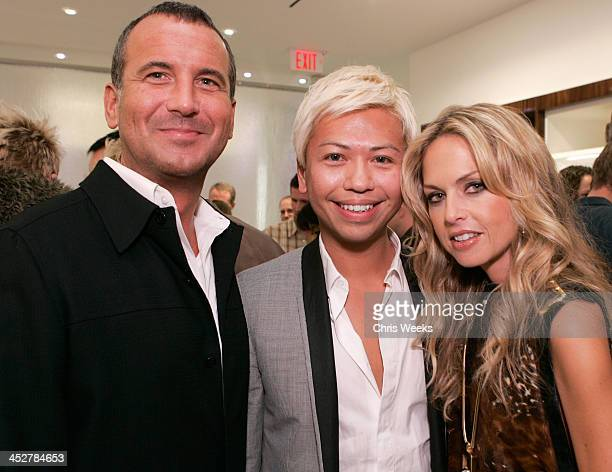 Mike Egeck of 7 For All Mankind from left Alex Sum and Rachel Zoe attend the opening of the 7 For All Mankind store on Robertson Boulevard on...