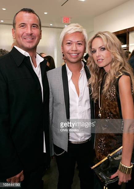Mike Egeck of 7 For All Mankind from left Alex Sum and stylist Rachel Zoe attend the opening of the 7 For All Mankind store on Robertson Boulevard on...