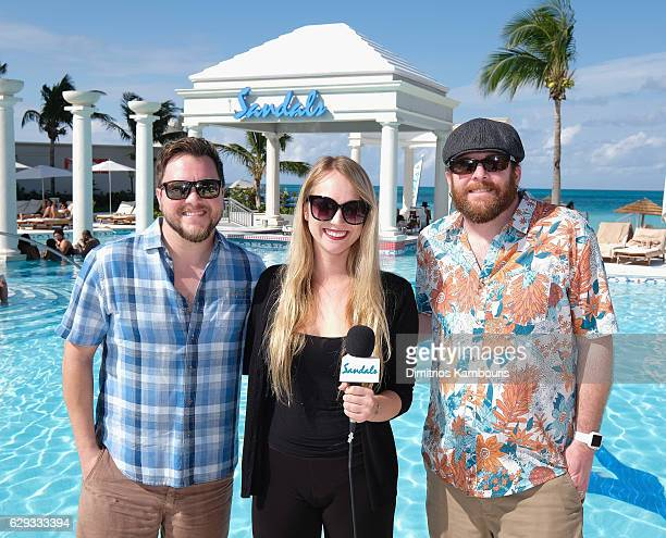 Mike Eli and James Young of Eli Young Band are interviewed by Emily Larsen during a live radio broadcast at CMT Story Behind The Songs LIV Weekend at...
