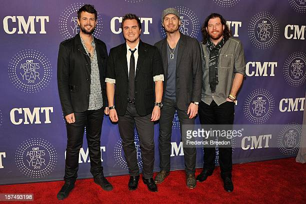 Mike Eli James Young Jon Jones and Chris Thompson of the Eli Young band arrive at the 2012 CMT Artists Of The Year at The Factory At Franklin on...