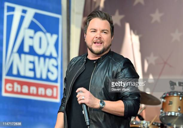 """Mike Eli of Eli Young Band performs on FOX News Channel's """"Fox & Friends"""" All-American Summer Concert Series outside Fox News Channel Studios on May..."""