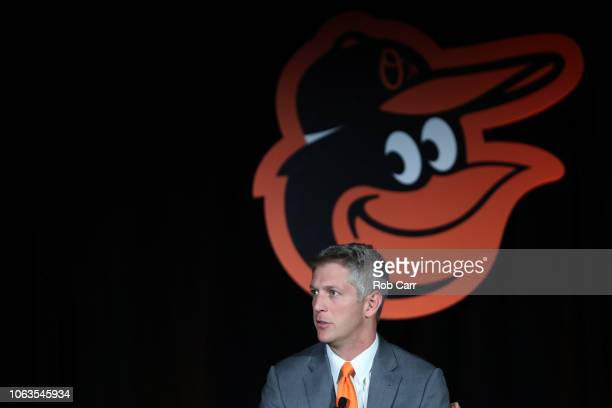 Mike Elias talks to the media after formally being introduced as the Baltimore Orioles Executive Vice President and General Manager during a news...