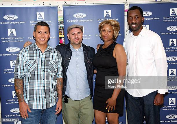 Mike Elizondo, Anthony Valadez, Dolly Adams and Joseph Langford of attend GRAMMY Camp - Basic Training at Dorsey High School on May 24, 2013 in Los...
