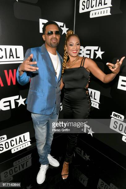 Mike Epps and Amanda Seales attend BET's Social Awards 2018 at Tyler Perry Studio on February 11 2018 in Atlanta Georgia