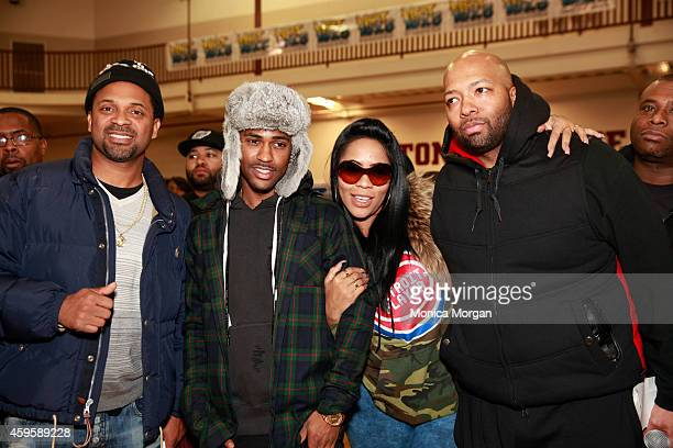 Mike Epps Big Sean Deelishis and Tarence Wheeler attend the All Star Giveback Thanksgiving Edition on November 25 2014 in River Rouge Michigan