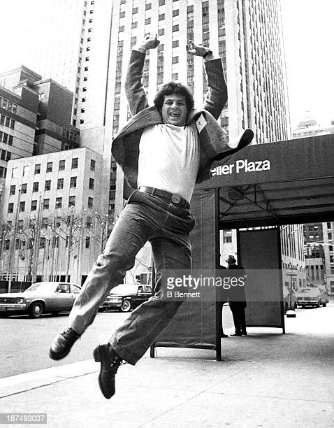 "Mike Eruzione of Team USA jumps for joy after appearing on the ""Today Show"" on NBC in Rockefeller Plaza on February 26, 1980 in New York, New York."