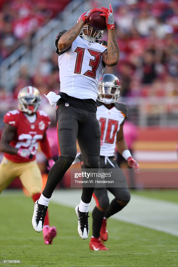 Mike Evans #13 of the Tampa Bay Buccaneers makes a catch against the San Francisco 49ers during their NFL game at Levi's Stadium on October 23, 2016 in Santa Clara, California.