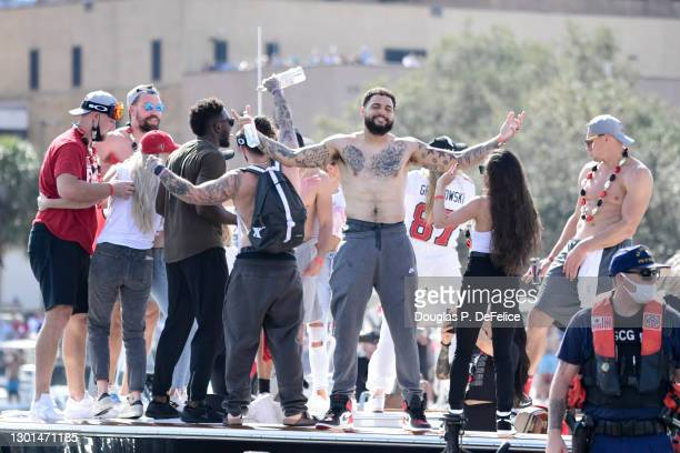 Mike Evans of the Tampa Bay Buccaneers reacts during the Tampa Bay Buccaneers Victory Boat Parade on February 10, 2021 in Tampa, Florida.