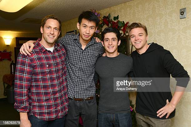 Mike Faiola Kelly Sry Wesam Keesh and Brett Davern from the cast of Awkward led by Jillian Rose Reed teach seniors about tech as part of...