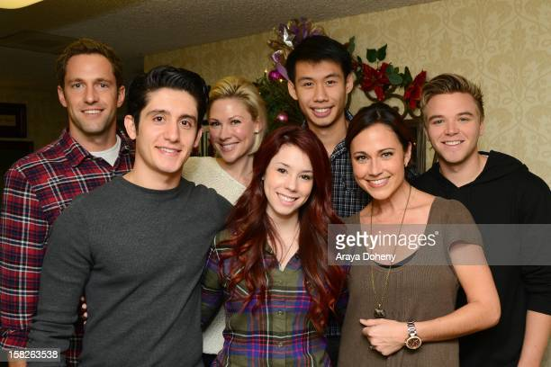 Mike Faiola Wesam Keesh Desi Lydic Jillian Rose Reed Kelly Sry Nikki Deloach and Brett Davern from the cast of Awkward led by Jillian Rose Reed teach...