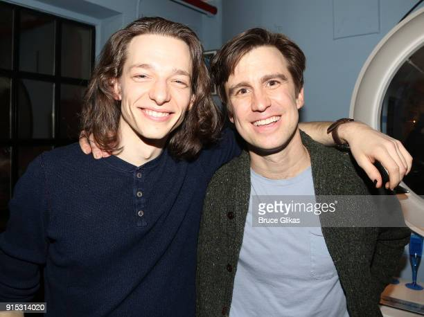 Mike Faist and Gavin Creel pose backstage as Taylor Trensch joins the cast of 'Dear Evan Hansen' on Broadway at The Music Box Theatre on February 6...