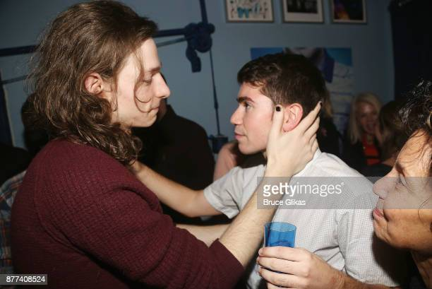 Mike Faist and Noah Galvin chat backstage on Galvin's Opening Night in the hit musical 'Dear Evan Hansen' on Broadway at The Music Box Theatre on...