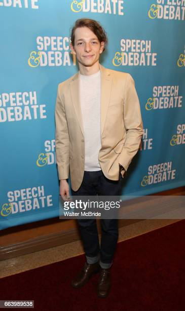 Mike Faist attends the Broadway Red Carpet Premiere of 'Speech & Debate' at the American Airlines Theatre on April 2, 2017 in New York City.