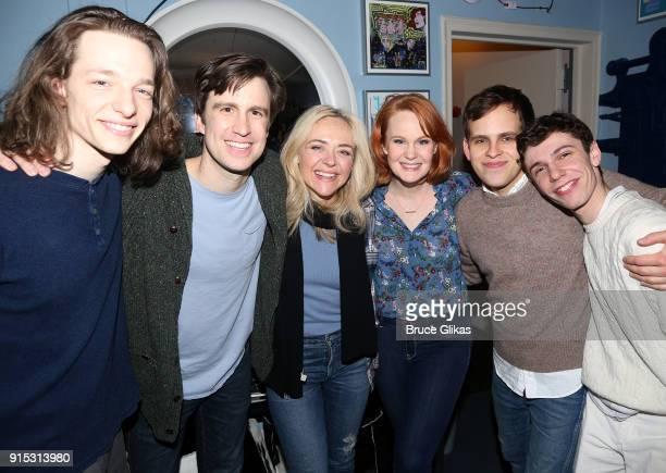 Mike Faist Gavin Creel Rachel Bay Jones Kate Baldwin Taylor Trensch and Ben Levi Ross pose backstage as Taylor Trensch joins the cast of 'Dear Evan...