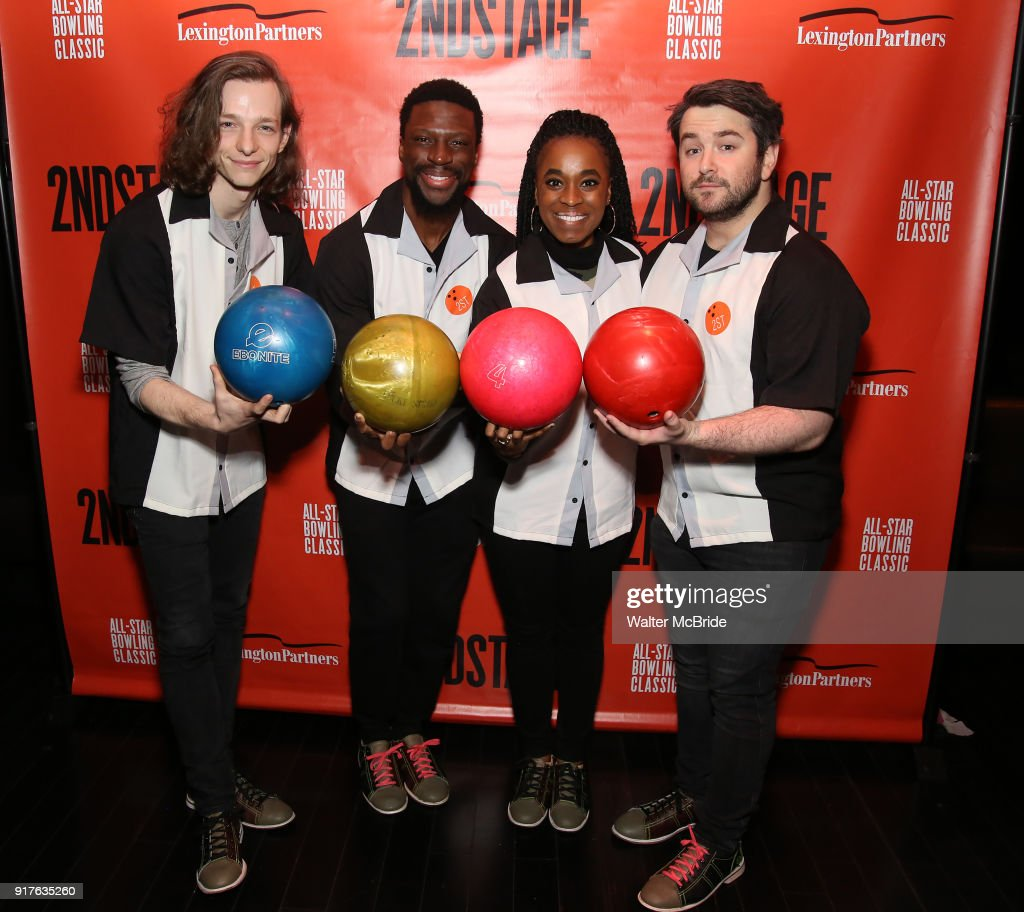 Mike Faist, Michael Luwoye, Kristolyn Lloyd and Alex Brightman attend the Second Stage Theatre 2018 Bowling Classic at Lucky Strike on February 12, 2018 in New York City.