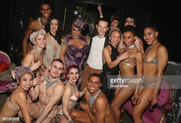 Mike Faist poses with the cast at the Opening Night of Company XIV's 'Cinderella' at Theatre XIV in Bushwick on March 12 2018 in New York City
