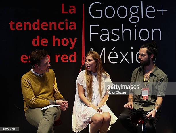 Mike fashion designer Cynthia Buttenklepper and Rafael Cuevas attend the first day of Google Fashion Mexico at Estudios Churubusco on September 25...