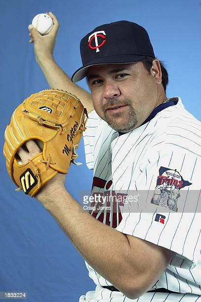 Mike Fetters of the Minnesota Twins poses for a portrait during theTwins' spring training Media Day on February 24 2003 at Ed Smith Stadium in...