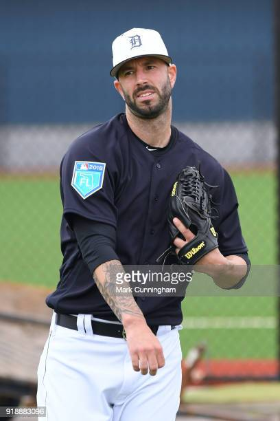 Mike Fiers of the Detroit Tigers looks on during Spring Training workouts at the TigerTown Facility on February 14 2018 in Lakeland Florida