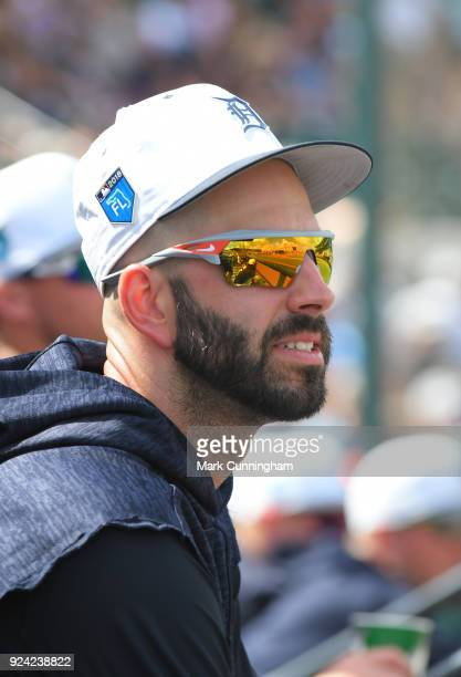 Mike Fiers of the Detroit Tigers looks on from the dugout during the Spring Training game against the Pittsburgh Pirates at Publix Field at Joker...