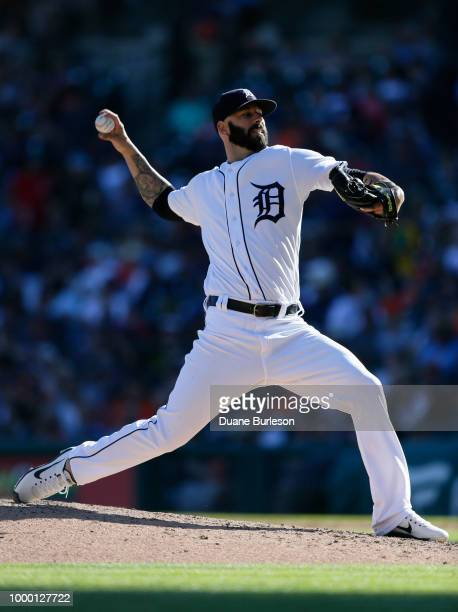 Mike Fiers of the Detroit Tigers pitches against the Texas Rangers at Comerica Park on July 7 2018 in Detroit Michigan