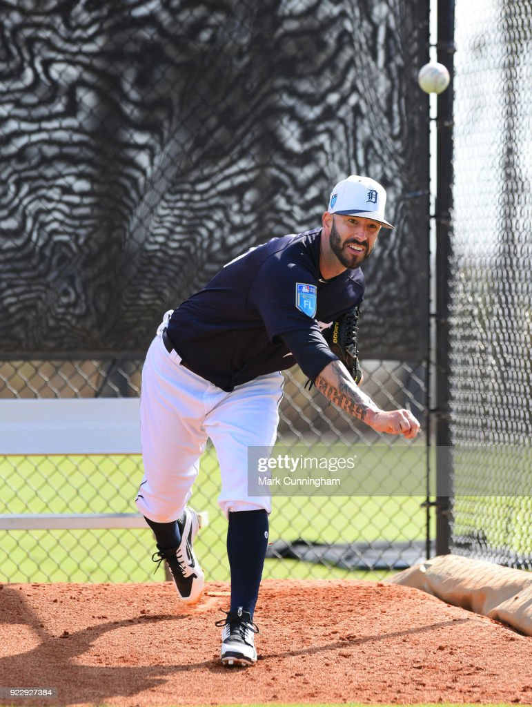 Mike Fiers #50 of the Detroit Tigers pitches during Spring Training workouts at the TigerTown Facility on February 21, 2018 in Lakeland, Florida.