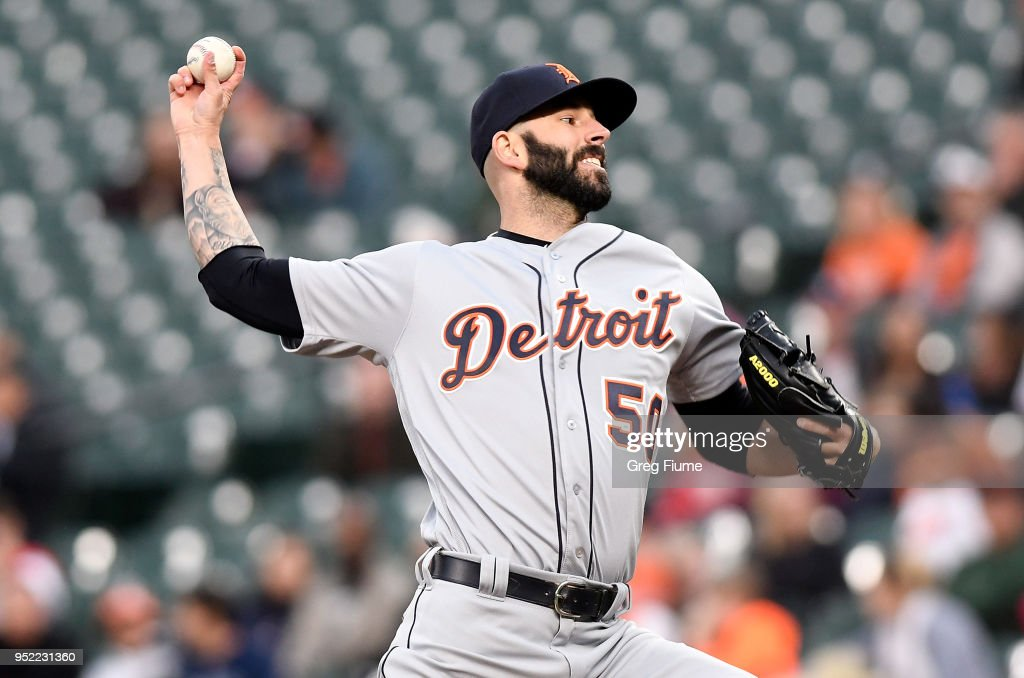 Mike Fiers #50 of the Detroit Tigers pitches in the first inning against the Baltimore Orioles at Oriole Park at Camden Yards on April 27, 2018 in Baltimore, Maryland.