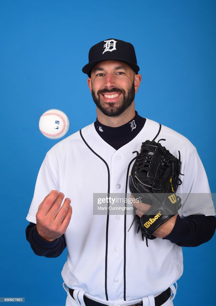 Mike Fiers #50 of the Detroit Tigers poses for a photo during photo day on February 20, 2018 in Lakeland, Florida.