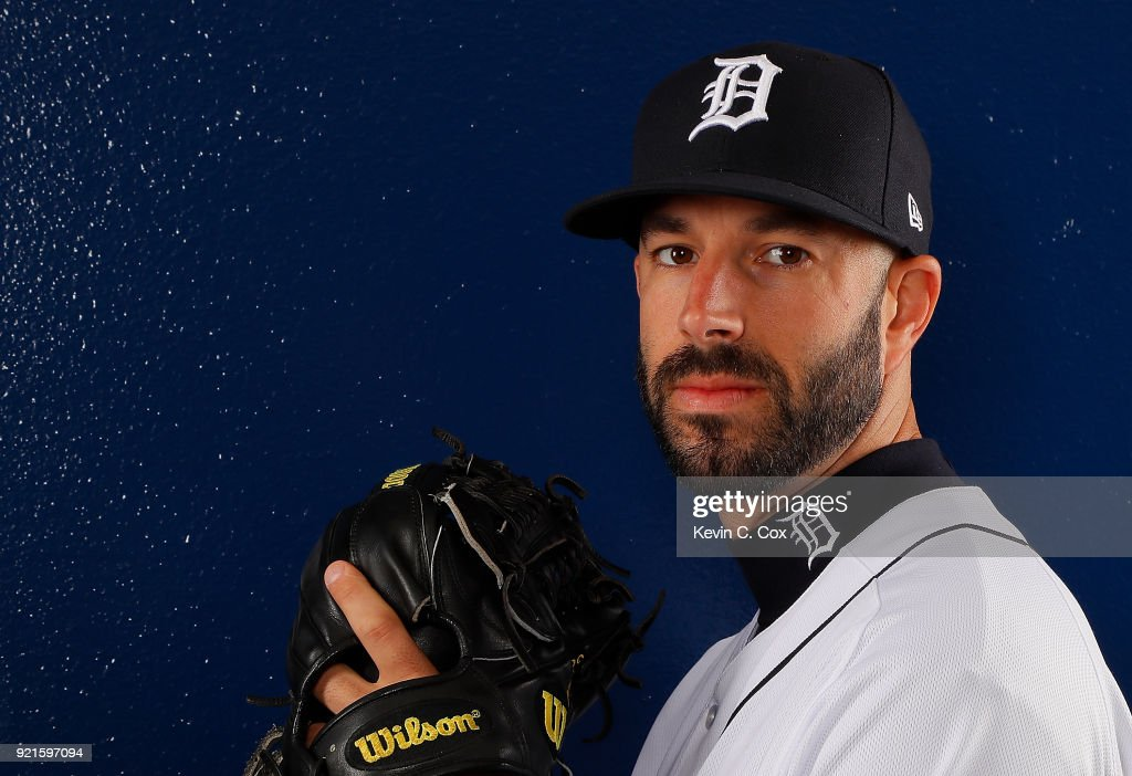 Mike Fiers #50 of the Detroit Tigers poses for a photo during photo days on February 20, 2018 in Lakeland, Florida.