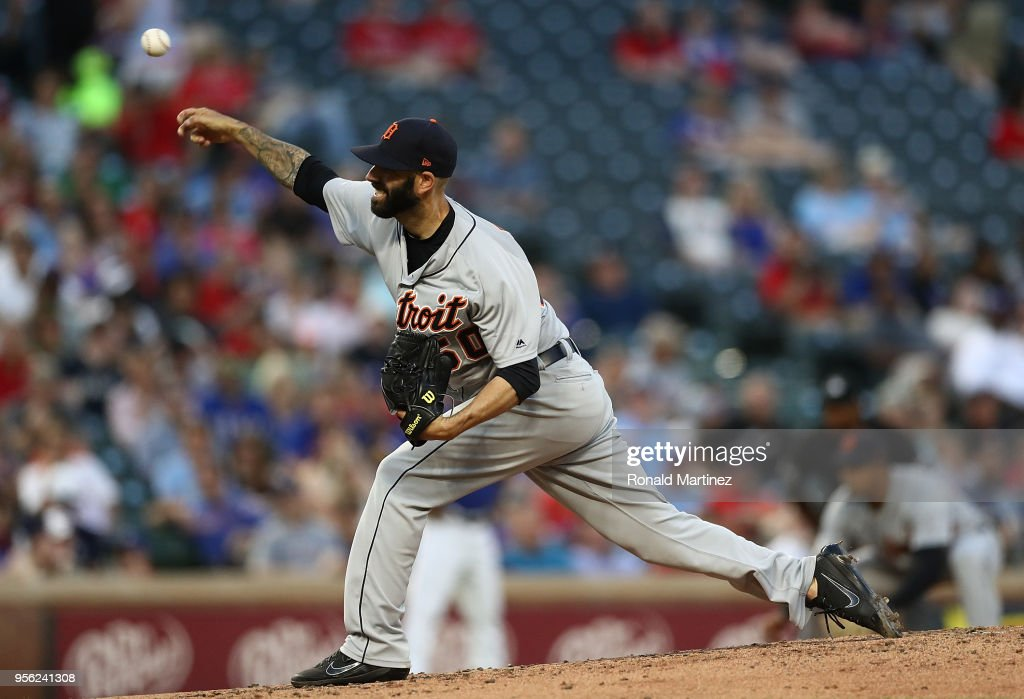 Mike Fiers #50 of the Detroit Tigers throws against the Texas Rangers in the fourth inning at Globe Life Park in Arlington on May 8, 2018 in Arlington, Texas.