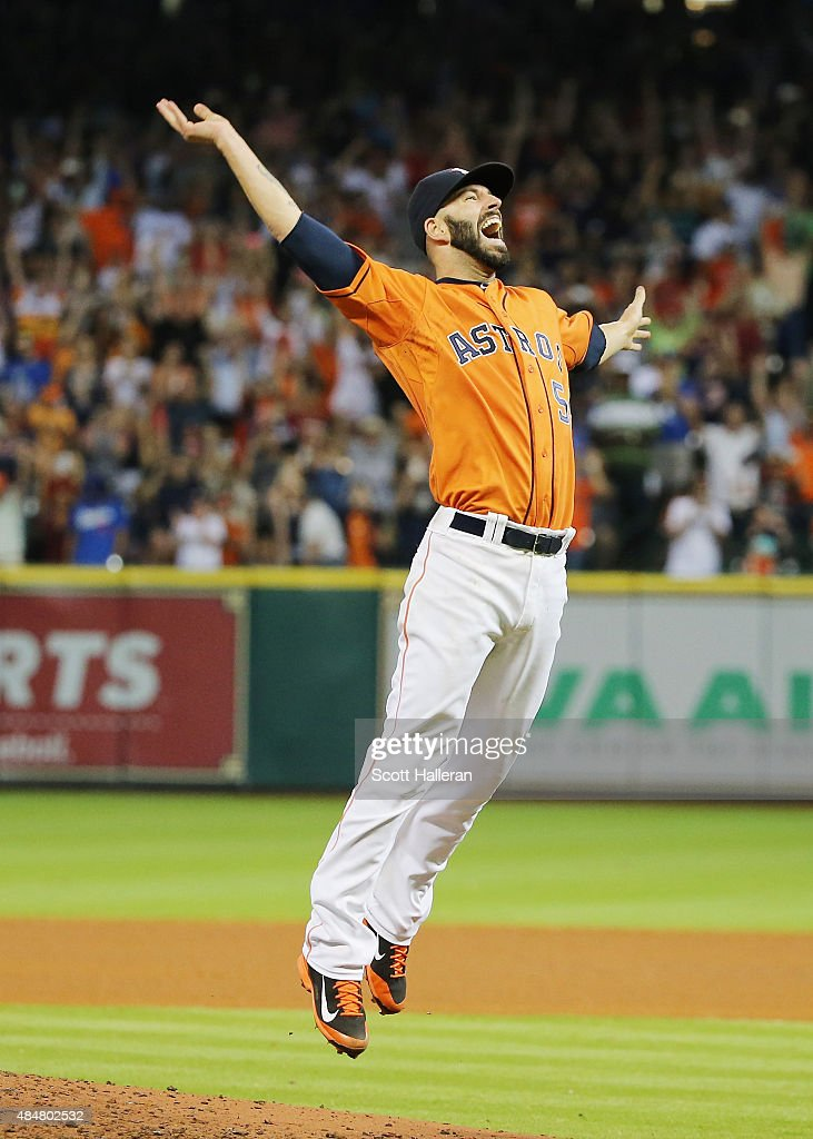 Mike Fiers #54 of the Houston Astros celebrates after tossing a no-hitter en route to the Astros defeating the Los Angeles Dodgers 3-0 at Minute Maid Park on August 21, 2015 in Houston, Texas.